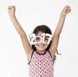 Children Studio Concept. Children Girl Happiness Cheerful Studio Portrait Royalty Free Stock Images
