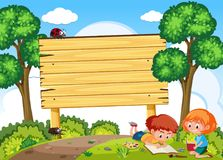Free Children Study In Nature And Signboard Stock Image - 124228641