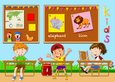 Children studying in the classroom. Illustration Stock Photo