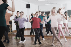 Children studying contemp dance Royalty Free Stock Photo