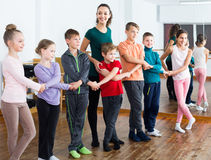 Children  studying folk style dance in class Royalty Free Stock Photography
