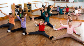 Children studying modern style dance Royalty Free Stock Image