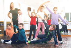 Children studying modern style dance Royalty Free Stock Photography