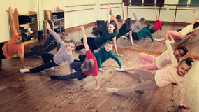 Children studying modern style dance Royalty Free Stock Photo
