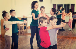 Children studying of partner dance  at dance school Stock Image