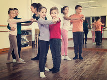 Children studying of partner dance  at dance school Royalty Free Stock Photos
