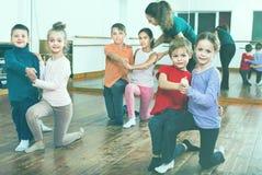 Children studying of partner dance  at dance school Royalty Free Stock Photo