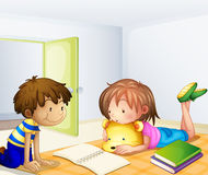 Children studying in a room vector illustration