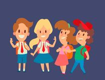 Children studying school kids going study together childhood happy primary education character vector. School kids educationchildren study at primary school Stock Photography