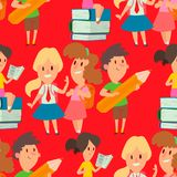 Children studying school kids going study together childhood happy primary education character vector. School kids educationchildren study at primary school Royalty Free Stock Image