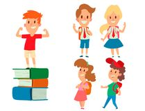 Children studying school kids going study together childhood happy primary education character vector. School kids educationchildren study at primary school Royalty Free Stock Photo