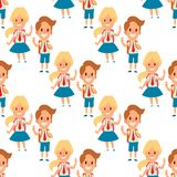 Children studying school kids going study together childhood happy primary education character vector seamless pattern Stock Illustration