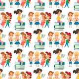 Children studying school kids going study together childhood happy primary education character vector seamless pattern Royalty Free Illustration