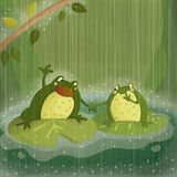 Singing in the rain. Children style illustration with a couple of frog singing in the rain on a rainy day at the pond royalty free illustration