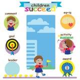 Children succeed. Cartoon girl's dark skin was several useful activities vector illustration
