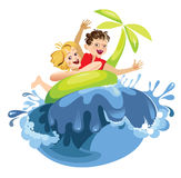 Children in the summer stock illustration
