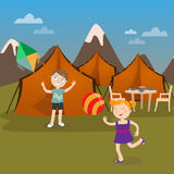 Children Summer Camp. Boy Launches Kite. Girl playing Ball. Royalty Free Stock Images