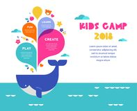 Children summer camp, poster with colorful splashes and whale. Summer activity poster for kids Royalty Free Stock Photo