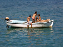 Children in summer fun on boat in sea 1 Stock Photos