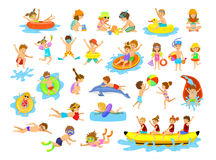 Children summer holidays fun activities on the beach Royalty Free Stock Images