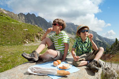 Children in the summer mountains Royalty Free Stock Photos