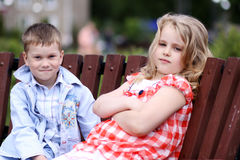Children in the summer park Stock Images