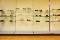 Children summer shoes in store Royalty Free Stock Photography