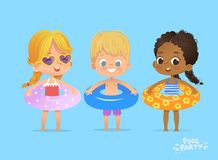Children Summer Time on Swimming Pool Vacation. Funny Character in Lifebuoy. Kids Playing in Water. Swim Exercise stock illustration