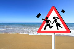 Children on summer vacation concept. Warning school sign, children on summer vacation concept Stock Photography