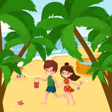 Children summer vacation. Kids Playing sand around water on beach Royalty Free Stock Image