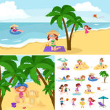 Children summer vacation. Kids Playing sand around water on beach. Cute little girl in a bathing suit and Funny boy Swiming in the sea Royalty Free Stock Photography