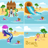 Children summer vacation. Kids Playing sand around water on beach Royalty Free Stock Photo