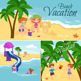 Children summer vacation. Kids Playing sand around water on beach Royalty Free Stock Photography