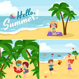Children summer vacation. Kids Playing sand around water on beach Stock Photo