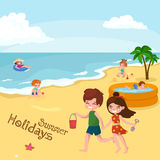 Children summer vacation. Kids Playing sand around water on beach Royalty Free Stock Images