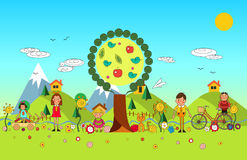 Children summer vacation in park. Vector set of summer child`s o. Children summer vacation in park. Vector set of summer child outdoor activities. Summer Stock Photography