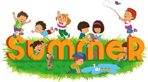 Children_summer. Word summer with colorful and happy kids royalty free illustration
