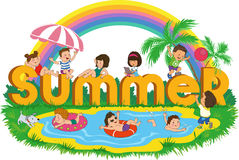 Children_summer. Word summer with happy kids on the beach on the background of the rainbow vector illustration