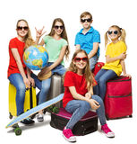 Children Summer World Travel, Young School Students Camp Journey. Group in Sunglasses over White stock images
