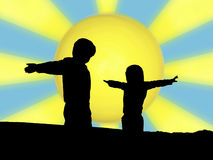 Children sun silhouette Royalty Free Stock Photography