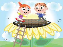 Children and sunflower,CMYK Stock Image