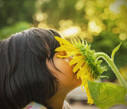 Children with sunflower in nature Stock Images