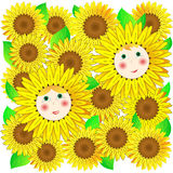 Children and sunflowers. Vector. Stock Photos