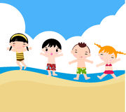 Children on the sunny beach. Illustration of children on the sunny beach Stock Images