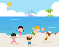 Children on the sunny beach Royalty Free Stock Photo
