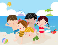 Children on the sunny beach Stock Photography