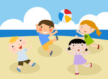 Children on the sunny beach. Illustration art Stock Photos