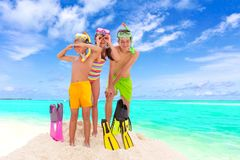 Children on sunny beach Stock Photo