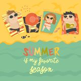 Children on the sunny beach. Summer is the favorite season. Vector illustration Royalty Free Stock Photos