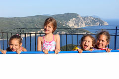 Children on the sunny terrace Stock Photography